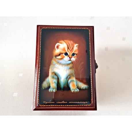 """Maľovaná krabička - šperkovnica """"Mačička"""", 13x9 cm"""