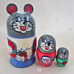 """Matrioška """"Myška"""", 3 dielna, 9 cm"""
