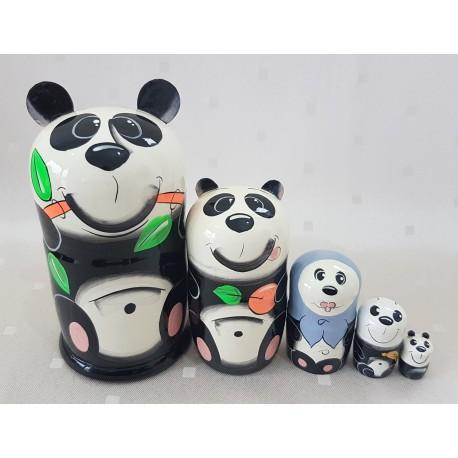 """Matrioška """"Panda """", 5 dielna, 15 cm"""