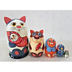 """Matrioška """"Kocúr s mačiatkom, biely """", 5 dielna, 15 cm"""