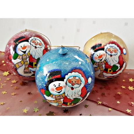 """Vianočná guľa """"Snehuliak a Santa Klaus, modrá, 10 cm."""