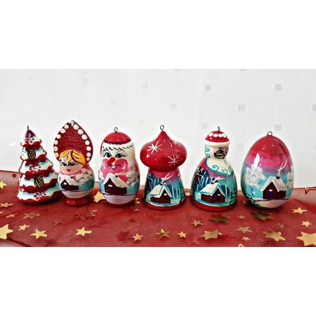 Sada vianočných drevených ozdôb, červená 6 ks, 6 cm.