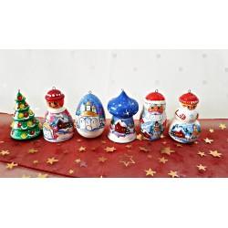 Sada vianočných drevených ozdôb, modrá 6 ks, 6 cm.
