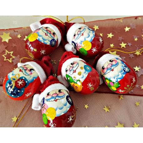 """Sada vianočných drevených ozdôb """"Dedo mráz s čiapkou 6 ks"""", 6 cm."""