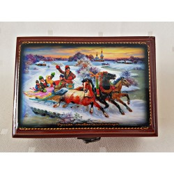 """Maľovaná krabička - šperkovnica """"Zimná rozprávka 1"""", 13x9 cm"""