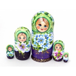 """Matrioška """"Nataša s fialkami - zelená"""", 5 dielna, 14 cm"""