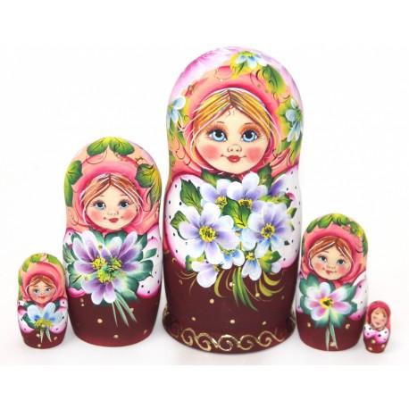 """Matrioška – originálny ruský suvenír: Matrioška """"Nataša s fialkami - ružová""""        5 dielna, 14 cm"""