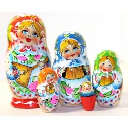 """Matrioška """"Ruské hudobné nástroje"""", 5 dielna, 15 cm"""
