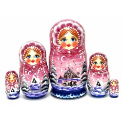 """Matrioška """"Krajinka-ružová"""", 5 dielna, 18 cm"""
