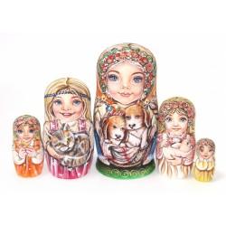 """Matrioška """"Dievčatko so psíkmi"""", 5 dielna, 18 cm"""