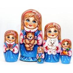 """Matrioška """"Alenka so slnečnicou"""", 5 dielna, 14 cm"""