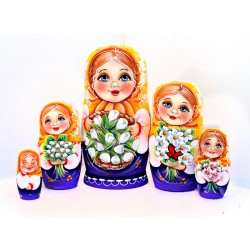 """Matrioška """"Mária so snežienkami"""", 5 dielna, 17 cm"""