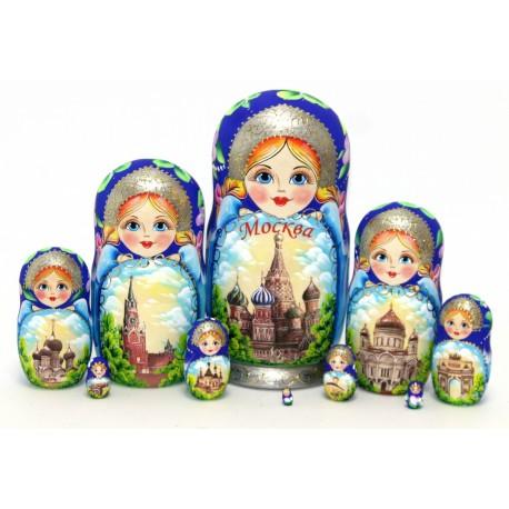 """Matrioška """"Moskva - modrá"""", 10 dielna, 25 cm"""